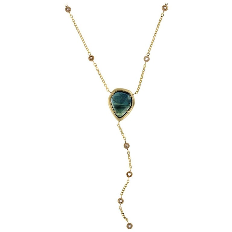 Kate 18 Karat Gold Rosecut Sapphire and Diamond Necklace