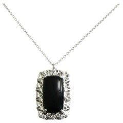 18 Karat White Gold Garavelli Pendant with Chain with Diamonds and Onyx