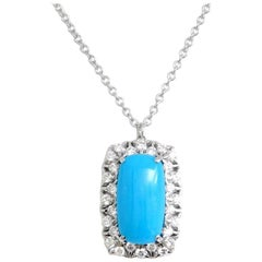 18 Karat White Gold Garavelli Pendant with Chain with Diamonds and Turquoise