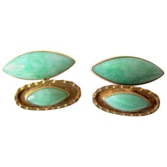 1950s Mid-Century Modern 14k Gold Jade Cufflinks