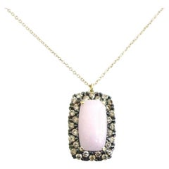 18 Karat Gold Garavelli Pendant with Chain with Brown Diamonds and Pink Opal