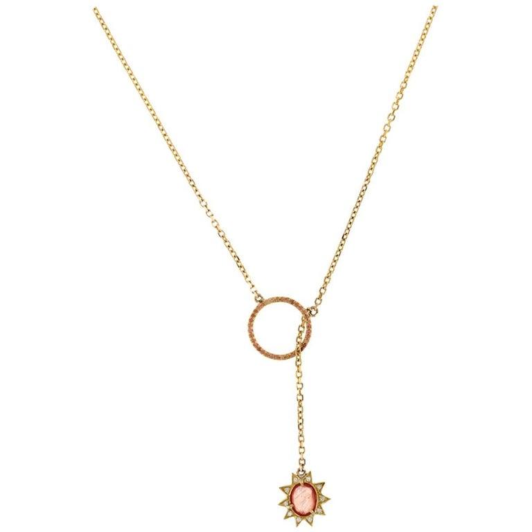 Sienna 18 Karat Gold Rosecut Sapphire and VS+ Diamond Necklace