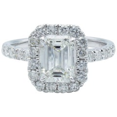 David Rosenberg 1.21 Carat Emerald Cut GIA H/SI2 Halo Diamond Engagement Ring