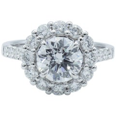 David Rosenberg 1.54 Carat Round D/SI2 GIA Diamond Engagement Halo Ring