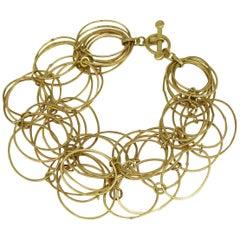 Kayo Saito 18 Karat Gold Chain Flexible Loop Hoop Bracelet Bangle