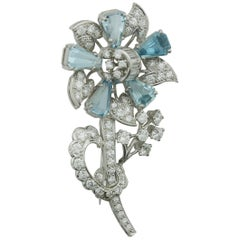 1940s Aquamarine and Diamond Flower Brooch in Platinum