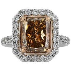 Mark Broumand 5.51 Carat Fancy Brownish Yellow Radiant Cut Diamond Ring