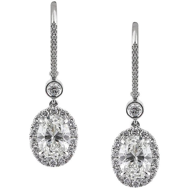 Mark Broumand 3.25 Carat Oval Cut Diamond Dangle Earrings in 18 Karat White Gold