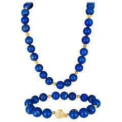 Lapis Lazuli Necklace and Bracelet, Contemporary 14 Karat Nugget Accents