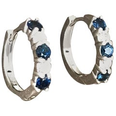 Alternating, Sapphire Diamond Earring Huggies, 18 Karat White Gold Contemporary