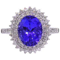 Tanzanite Diamond Double Halo Cluster 18 Carat White Gold Dress Ring