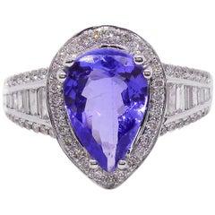 Tanzanite Diamond Ring Tear Drop 18 Carat White Gold