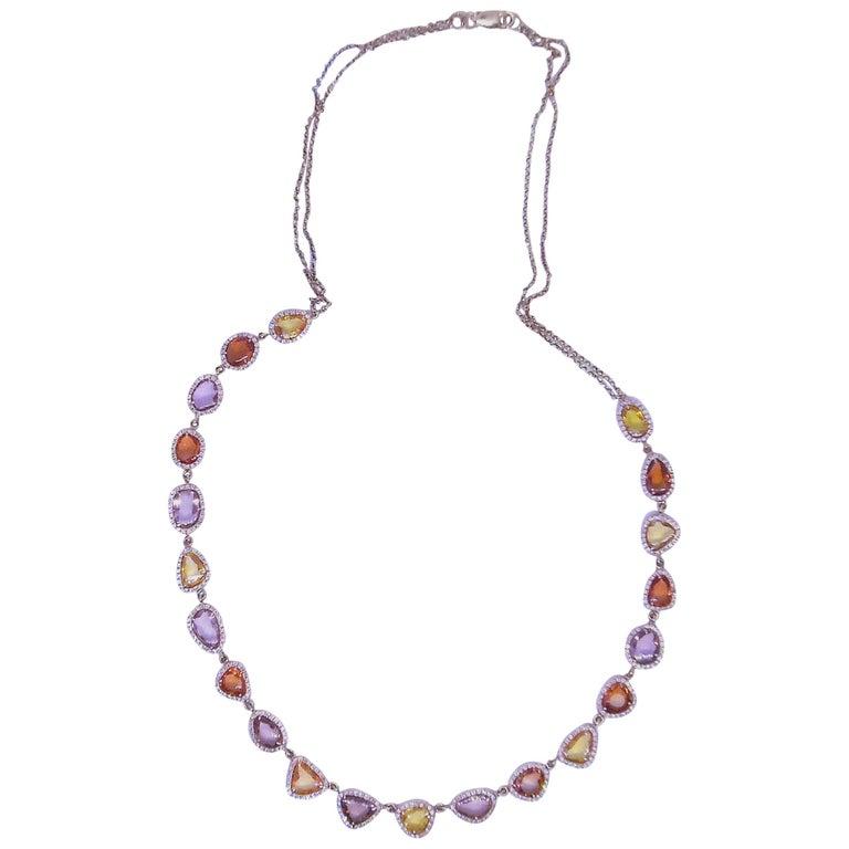 Sapphire Rose 18 Carat Gold Diamond Necklace