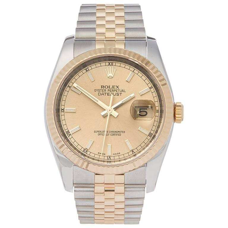 Rolex Datejust Stainless Steel and 18 Karat Yellow Gold Unisex 116233