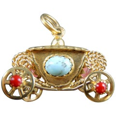 Vintage Rolling Coach Pendant with Colored Stones, circa 1970