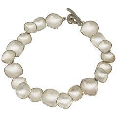 Kayo Saito Silver Chain Flexible Faceted Petal Bracelet Bangle