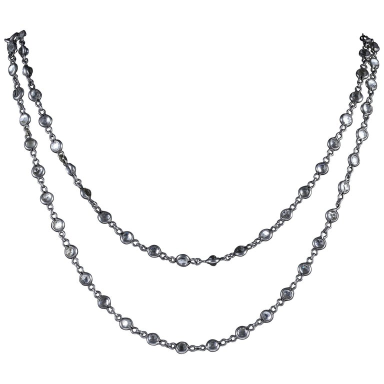 Antique Victorian Silver Chain Necklace Crystal, circa 1900