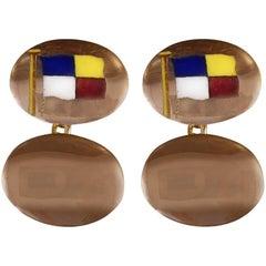 Vintage 9 Carat Rose Gold and Enamel Flag Cufflinks