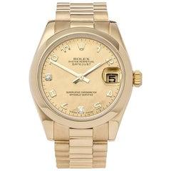Rolex Datejust 18 Karat Yellow Gold Women's 178248