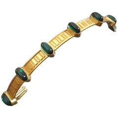 1960s Otto Hahn German Mid-Century Modernist Tourmaline Gold Bracelet