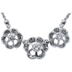 1950 Retro Floral Diamond Gold Necklace
