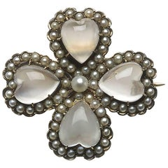 Moonstone and Pearl Four-Leaf Clover Brooch-Cum-Pendant