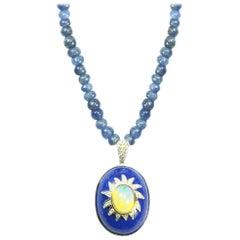 Fei Liu Sapphire Beaded Necklace Oval Lapis Lazuli Opal and Diamond Pendant