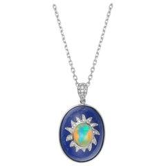 Fei Liu Oval Lapis Lazuli, Opal and Diamond-Set 18 Karat White Gold Pendant