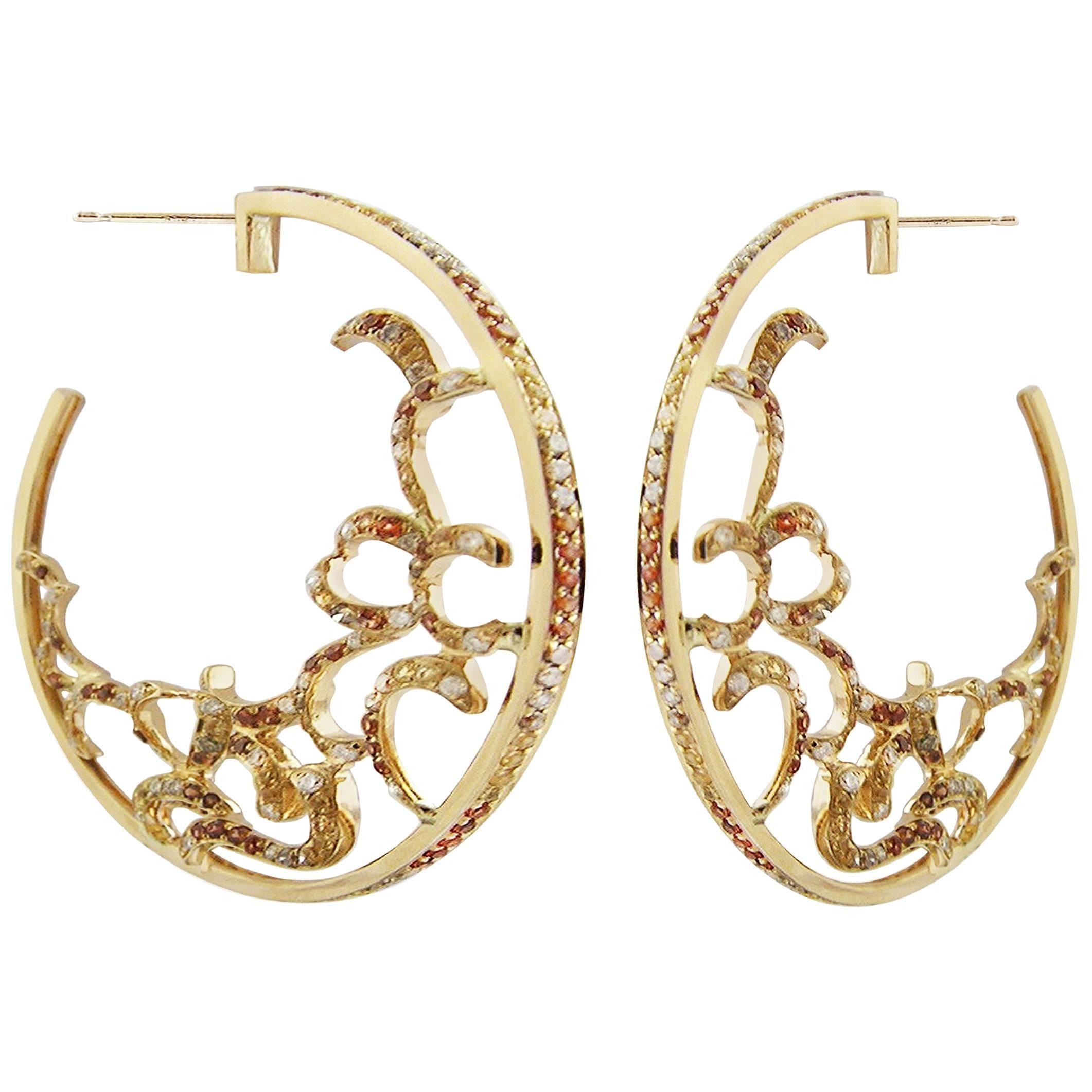 Fei Liu Citrine Garnet Brown Diamond White Diamond 18 Karat Gold Hoop Earrings