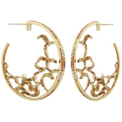 Fei Liu Citrine Garnet Brown Diamond White Diamond Yellow Gold Earrings