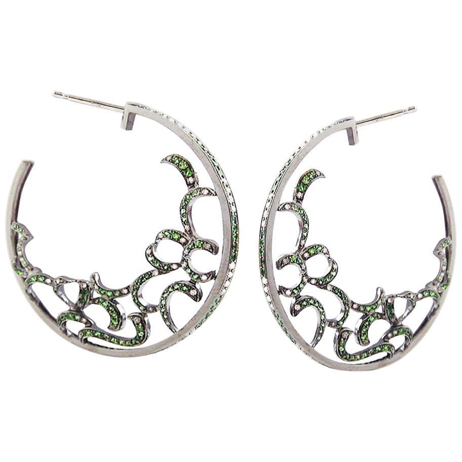 Fei Liu Green Garnet Diamond 18 Karat White Gold Hoop Earrings