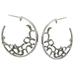 Fei Liu Green Garnet Diamond 18 Karat White Gold Hoop Earrings
