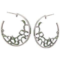Fei Liu Green Garnet Diamond Black Gold Hoop Earrings