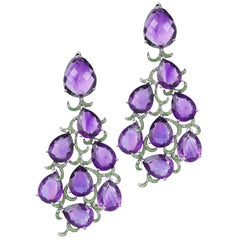 Fei Liu Purple Amethyst Diamond Green Garnet 18K Black Gold Chandelier Earrings