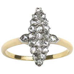 Rose-Cut Diamond Navette Shaped Ring Circa 1880