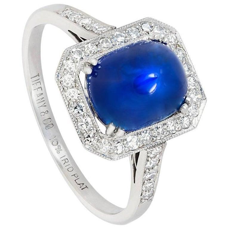 Tiffany & Co. 3.80 Carat Sugarloaf Kashmir Sapphire Diamond Art Deco Ring