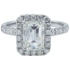 David Rosenberg 1.51 Carat GIA Emerald 18K White Gold Diamond Engagement Ring