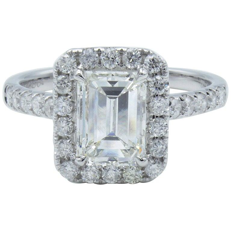 David Rosenberg 1.51 Carat GIA Emerald 18K White Gold Diamond Engagement Ring