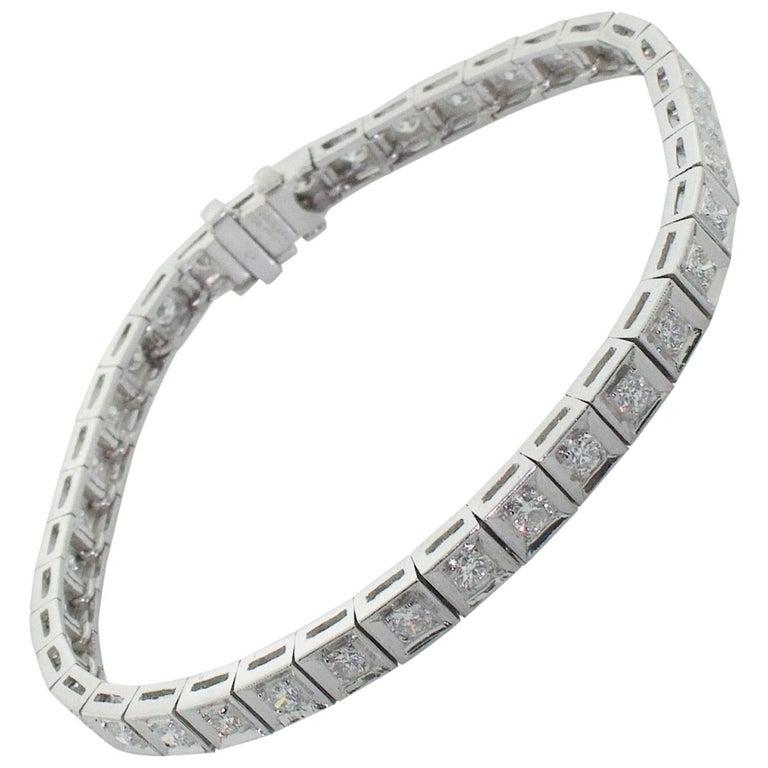 "1950s Straight Line ""Tennis Bracelet"" in Platinum"