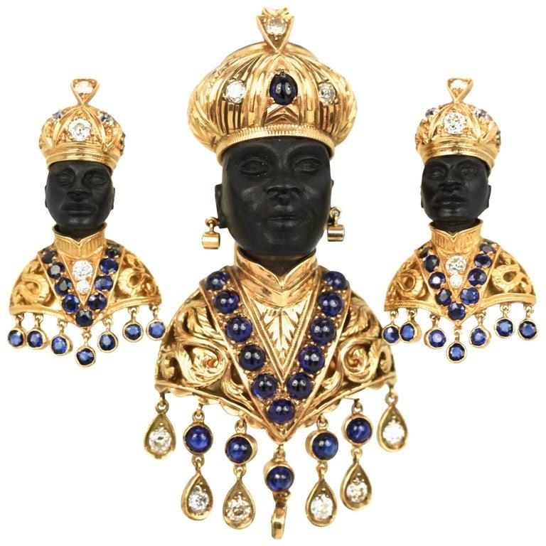 18 Karat Gold Blackamoor Brooch Earrings Diamonds Sapphires