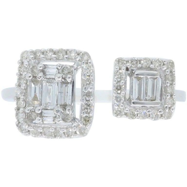 18 Karat White Gold Bypass Diamond Ring