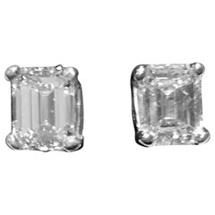 GIA 2.09 Carat Total Emerald Cut Earrings F Color VVS Clarity 18 Karat Gold