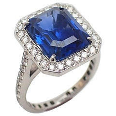 Unheated 6.09 Carat GIA Certified Blue Sapphire and Diamond Ring