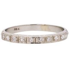 Vintage Diamond Wedding Band Hand Engraved 18 Karat White Gold, circa 1940s