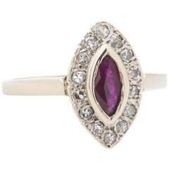 Vintage 14 Karat Marquise Ruby and Diamond Ring, circa 1950s