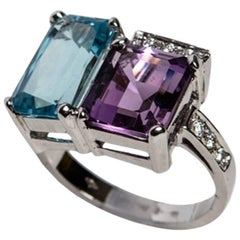 Blue Topaz and Purple Amethyst White Gold 18kt Ring with White Diamonds