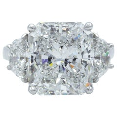 David Rosenberg 7.11 Carat Radiant GIA E/VS1 Platinum Three-Stone Diamond Ring