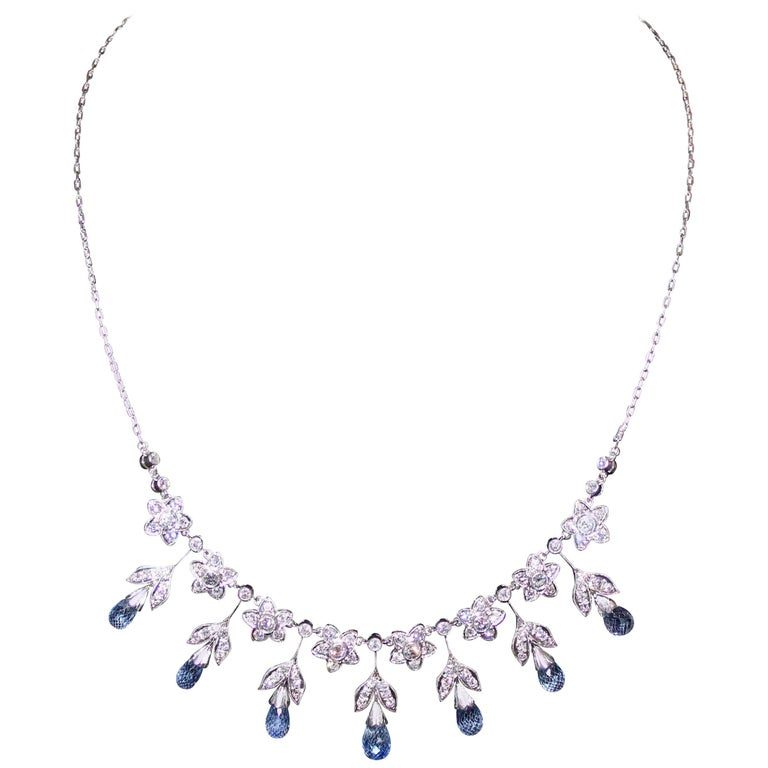 Elegant Dangling Sapphire and Diamond, 1930s Necklace