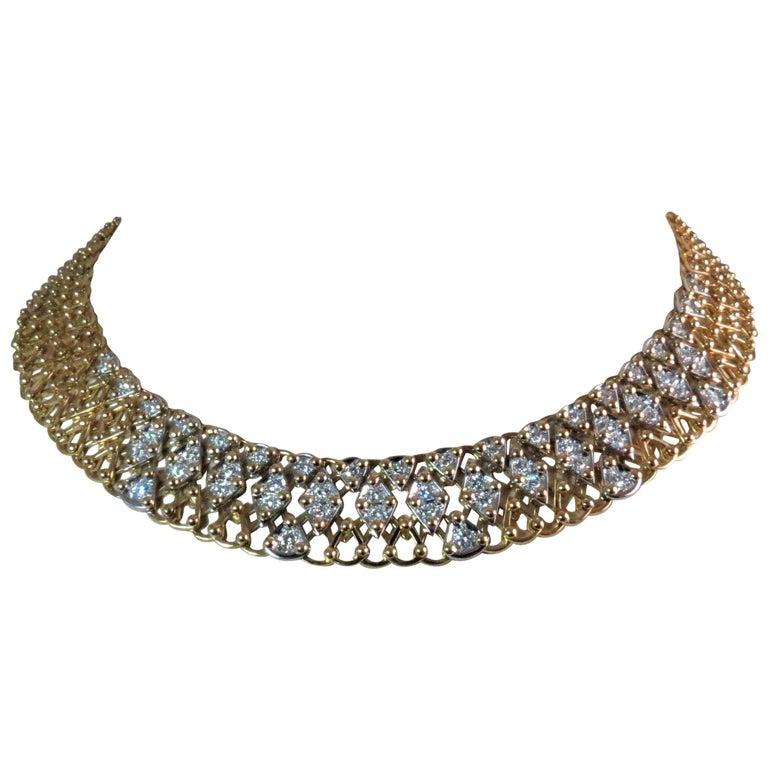 Garavelli 18 Karat Yellow and White Gold Open Weave Diamond Necklace