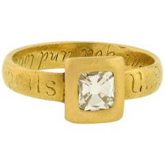 Georgian Table Cut Diamond Inscribed Gold Ring